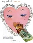 Mars Milky Way Candy Bar Valentines Day Ad, Life, February 8, 1954, page 45.