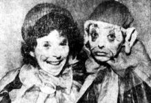Bri Murphy and Kay Mitchell in their clown costumes. Image appeared on page 47 of the April 7, 1954 issue of The Daily Home News.
