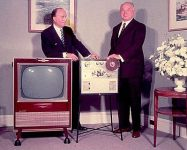 The RCA Hear-See Videoplayer being presented to David Sarnoff.