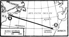 Map showing the general path of the Serene as it made its way across the Atlantic Ocean.
