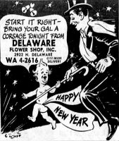 Delaware Flower Shop Ad, Happy New Year, Indianapolis Star December 31, 1958, page 20.