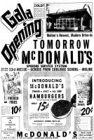 McDonalds, Moline, Illinois Ad, The Dispatch, February 3, 1958, page 12.