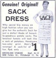 Potato Sack Dress Ad, American Legion Magazine, December 1958, page 52.