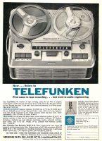 Telefunken Reel-to-Reel Tape Recorder, Audio Elite, Ad, Audio Magazine, September 1961, page 97.