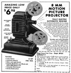 8mm Motion Picture Film Projector Ad, Topper Magazine, February 1962, page 45.