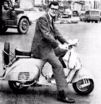 Jim Owen on his motor scooter.