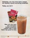 Carnation Instant Breakfast Ad, Saturday Evening Post, May 21, 1966, page 26.