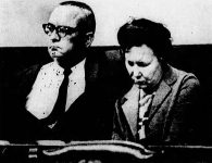 Joseph and Dorothy Ault waiting for the coroner's inquest to begin.