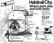 Advertisement for the Habitrail City hamster habitat appeared in the March 9, 1973 issue of the Long Beach Independent.