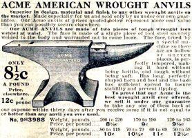 Acme Anvils, 1912 Sears, Roebuck and Company Catalog, No. 124, page 1073
