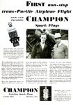 Advertisement for Champion Aviation Spark Plugs featuring Hugh Herndon (left) and Clyde Pangborn (right).