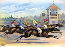 Finish line of a horse race with six horses and riders