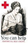 1918 American Red Cross poster of a young woman knitting.