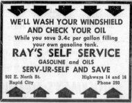 Ad for Ray's Self Service Gasoline