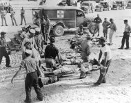 Survivors of the USS Indianapolis sinking in Guam in August 1945.
