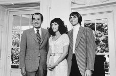 President Richard Nixon with Karen and Richard Carpenter in the White House on August 1, 1972.