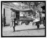 Demonstration at the Red Cross Emergency Ambulance Station in Washington, D.C., during the influenza pandemic of 1918.